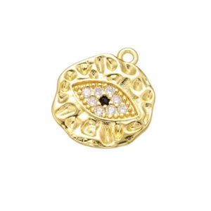 13x14mm Cubic Zirconia Gold Filled Evil Eye Charm